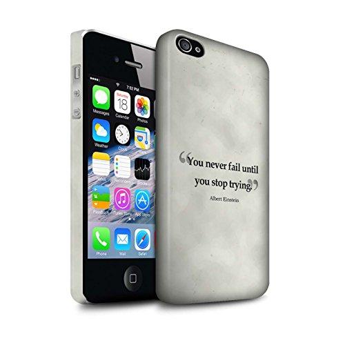 STUFF4 Matte Snap-On Hülle / Case für Apple iPhone 4/4S / Albert Einstein Muster / Berühmte Zitate Kollektion Albert Einstein