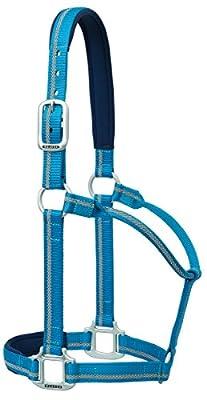 Weaver Leder Nylon Reflektierende durchschnittliche Festeingesteller Horse Halfter, gepolstert Blau