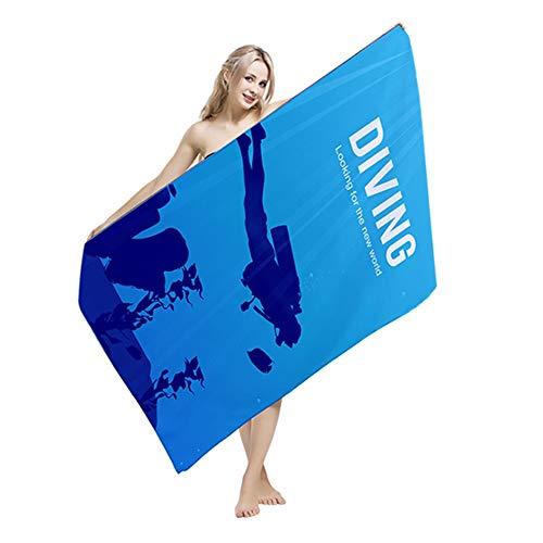 Serviette de plage Modèle de plongée Adultes Hommes Femmes Serviette de bain Liquidation Liquidation Super Absorbant Microfibre Séchage Rapide Surdimensionné Carré Plage Pique-Nique Couverture Tapis D