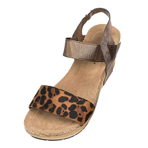 Frauen Sandalen für Frauen Flache Wedges Plateau liusdh,Summer Womens Leopard Open Toe Strappy Wedge Leather Platform Shoes Roman Sandal(KH,42) Lady Open Toe Strappy Sandal