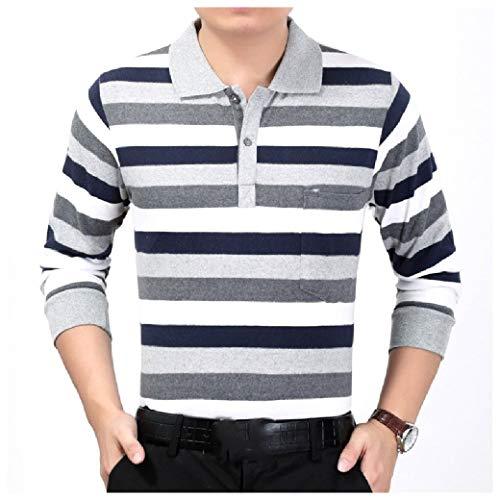 CuteRose Men Turn-down Collar Tees Contrast Striped T-Shirt AS15 XS 3/4 Length Down Coat