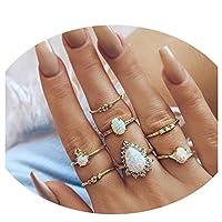 LJSLYJ 7 Pcs/Set Opal Flower Rings Geometric Knuckle Midi Ring