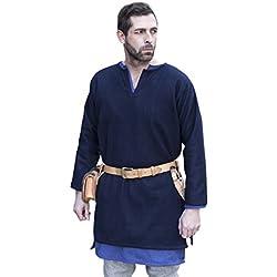 Medieval Túnica lana manga corta Túnica Larga auténtico azul azul azul XL