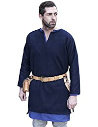 Medieval Tunic Wool Short Tunic Long Sleeves Authentic Blue