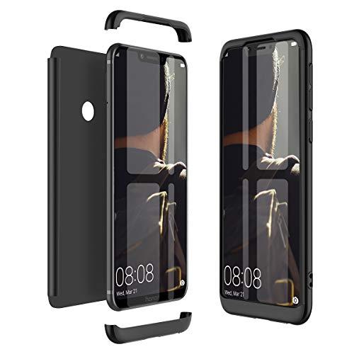 Winhoo Kompatibel mit Huawei Honor Play Hülle Hardcase 3 in 1 Handyhülle 360 Grad Schutz Ultra Dünn Slim Hard Full Body Case Cover Backcover Schutzhülle Bumper - Schwarz