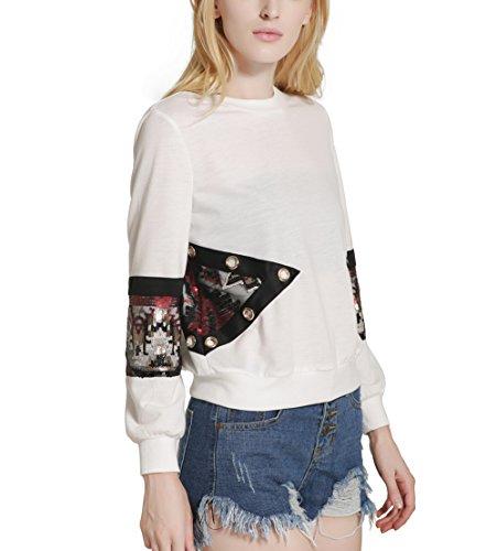 Fashion Cluster Femmes Casual Décontractée col rond manche longue paillettes coutures Sweat-shirt pullover capuche T-shirt Blouse Tops Blanc