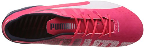 Puma  evoSPEED 1.3 FG, Chaussures de football homme Rouge - Rot (bright plasma-white-peacoat 04)