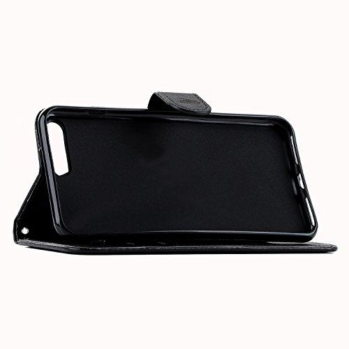 E-Lush Premium PU Leder Laserschneiden Schmetterling Muster Tasche für Apple iPhone 7/7S Plus (5,5 zoll) Einfach Einfarbig Muster Klapphülle 360 Full Body Protection Flip Case Wallet Cover Weiche Flex Schwarz