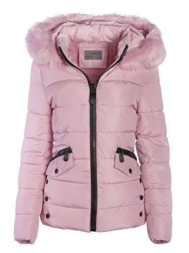 S'West Gesteppte Damen Winter WARME Jacke Mantel Kapuze MIT Fell ABNEHMBAR, Farbe:Rosa, Größe:S