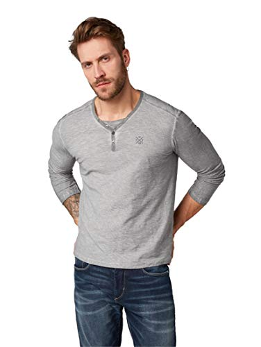 TOM TAILOR für Männer T-Shirts/Tops Gestreiftes Serafino-Shirt mit Underlayer Yarn Dye Stripe Grey, M -