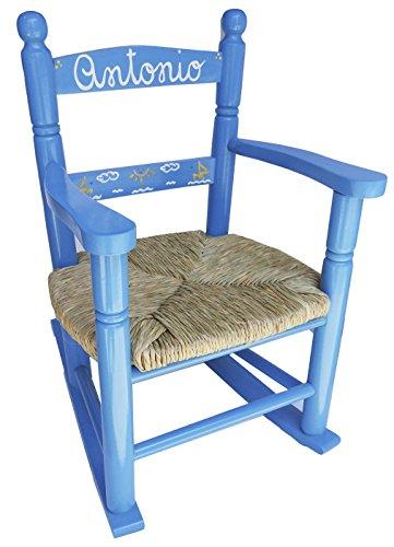 MAKONDO IMPORT-EXPORT Mecedora Personalizada EN Madera 4 Colores 37X47X58 (Azul)