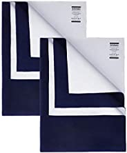 Amazon Brand - Solimo Baby Water Resistant Dry Sheet, Small, 70cm x 50cm, Navy Blue, Set of 2