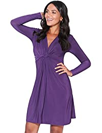 KRISP 9878-PUR-18   Ruched Drape Stretch Front Twist Knot Shift Mini Dress Tie Belted Party Work