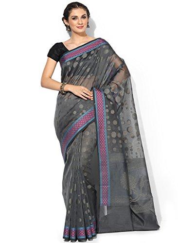 Banarasi Silk Works Supernet Cotton Saree With Blouse Piece(PTE108_Grey_Free Size)