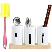 Biback Küche Handschuh Ständer, Oak Base Chopsticks Tube Kitchen Drain Tableware Storage Box