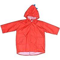 LIOOBO Chubasqueros para niños con Capucha, Chaqueta de Lluvia de Dinosaurio para niños, niñas, niños, Talla XL (Rojo)