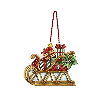 Popular Counted Cross Stitch Kit Sleigh Ornament Christmas Ornaments DIM,18CT Cotton Canvas