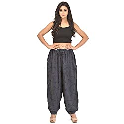 Skirts & Scarves SnS Rayon Grey Embroidered Yoga Pants/Harem Pants/Pajama with Elastic Waistband