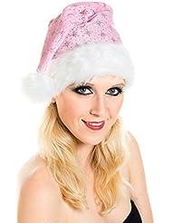 Weihnachtsmütze Nikolausmütze Rosa Pink Plüsch mit Glitzer Staub Dicker Fellrand X20