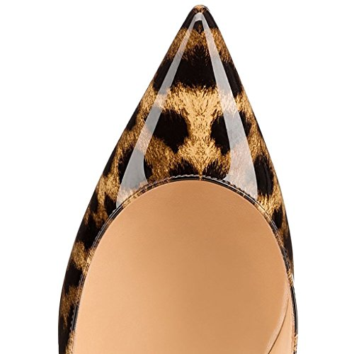 EDEFS Damen Kitten Absätzen Pumps Spitze Zehe Elegant Bequem Frauen Übergröße Schuhe Leopard