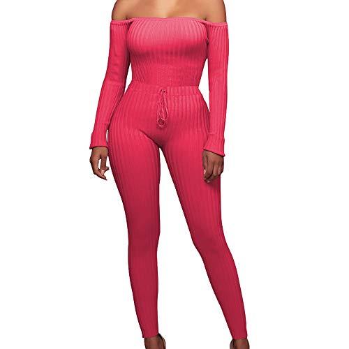 FORH Damen Mode Set Outfits langarm Streifen Crop Top Trägerlos T-shirt Reizvolle Bodycon Paket Hüfte Hosen Beiläufig Outfit Sport bekleidung Sexy aus Schulter Jumpsuit