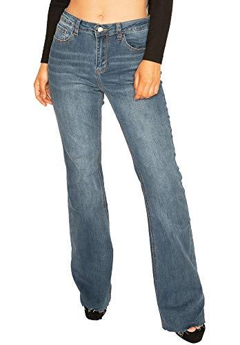 28b62fde8 Cindy H Paris Womens Long Leg Stretch Denim Flared Bootcut Jeans with Cut  Off Frayed Ends - Blue (12)