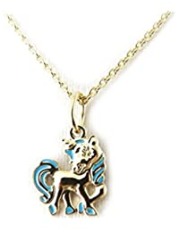 Altesse [M5937] - Collier plaqué or 'Licorne' bleu
