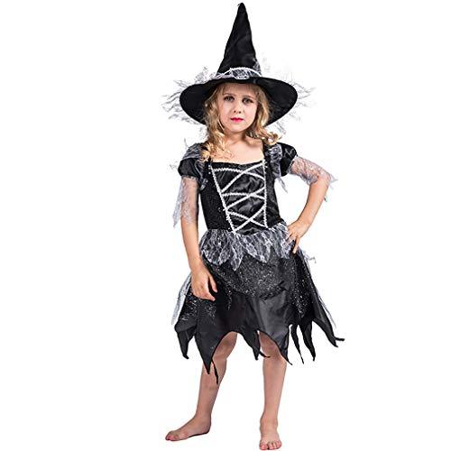 MCKEYEN Halloweens Mädchen Hexe Kostüm Kinder Kostüm Schwarz Spitze Kleid Mit Hut Kind Glitter Teufel Kostüme (Engel Und Teufel Kostüm Für Kleinkind)