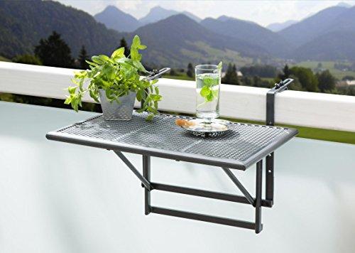 """Balkonhängetisch """"Gjøvik"""" – Balkontisch zum Einhängen aus Streckmetall & Kunststoffummantelung – Klapptisch kleiner Balkon – witterungsbeständig – Outdoor-Tisch, ca.60 x 40 x 56 cm, anthrazit-grau"""