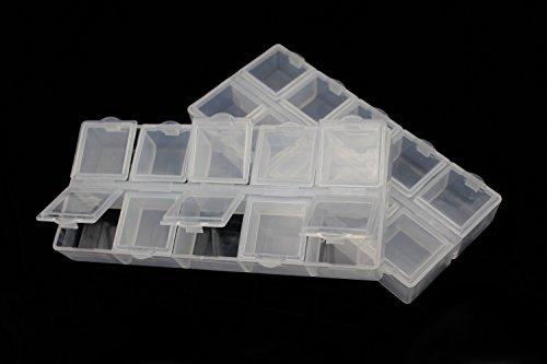 Fliegenfischen- / Köderbehälter, aus Kunststoff, 10Fächer, Fächer für Haken, 132x 58x 20 mm, 2 Stück