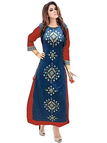 Roadstar India Women's Taffeta Silk Embroidered Stitched Kurti (DIWALI_OFFER_Blue and Pink_Medium)