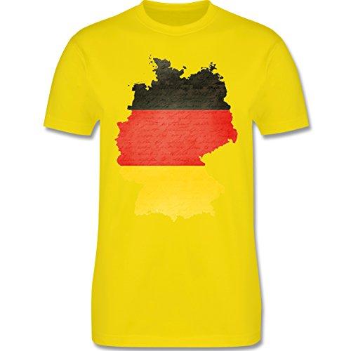 EM 2016 - Frankreich - Deutschland Karte - Herren Premium T-Shirt Lemon Gelb