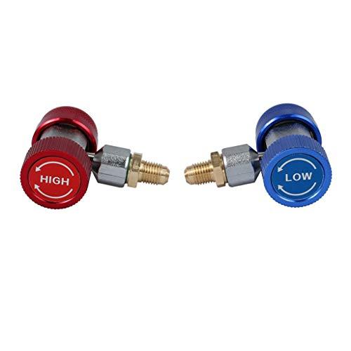 Masrin 2 STK. Schnellkupplung R134a für Klimaanlagen-Kältemitteladapter Hoch und Tief (Mehrfarbig) (Tief Klimaanlage)