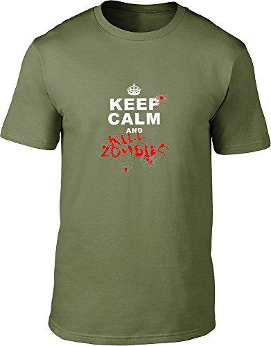 "Keep Calm And kill zombies maglietta da uomo Green Medium / 38""-40"""