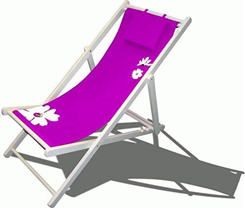 Leco Klappliege + Kissen Liege Gartenliege Stuhl Gartenstuhl Holz Garten Möbel Sonnenliege lila