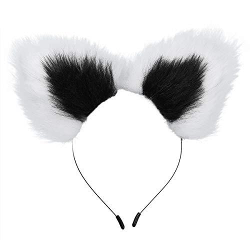 FEESHOW Damen Mädchen Katzenohren Haarreif Katze Stirnband Haarband Tier Ohren Plüsch Kostüm Zubehör für Cosplay Party Schwarz/Rosa/Blau/Lila Weiß+Schwarz One - Weiße Katze Kostüm