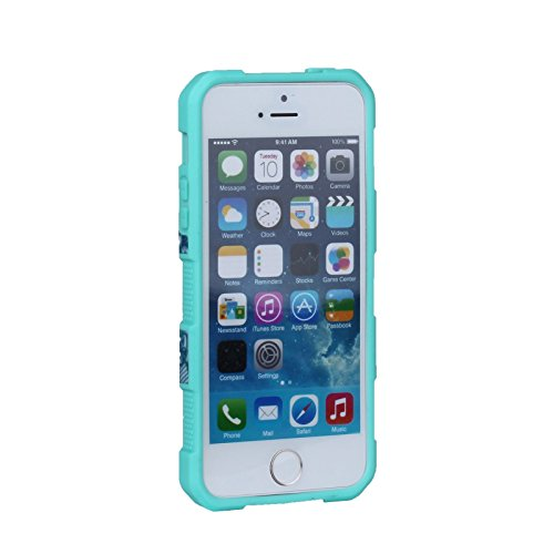 HYAIT® For APPLE IPHONE SE[G][FLOWER] Case[Shockproof] 3in1 Hybrid Silicone TPU & Plastic Rugged Heavy Duty Combo High Impact Durable Back Cover-BLACK APPLE-IPHONE SEG-FLOWER-BLUE