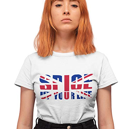 T-Shirt Spice Up Your Life - Leopardenmuster - Union Jack Print - Konzertmusik Tour T-Shirt Geschenk für Damen und Herren Gr. Large, weiß
