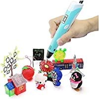 URANUS 3D Pen Starter Kit with LCD Display, Pen Stand, Power Adapter, 3 x 1.75mm ABS/PLA Filament … (Blue)