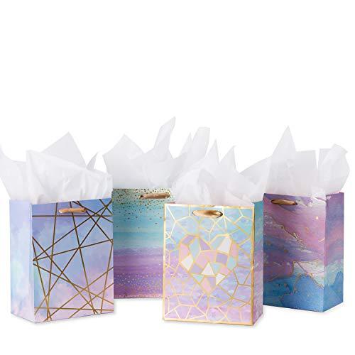 Größe Geschenk-Taschen-Coloful Marmor Muster Geschenktüte mit Seidenpapier Zum Einkaufen, Parteien, Hochzeit, Baby-Dusche, Craf-4 Pack-18 X 23 X10CM ()