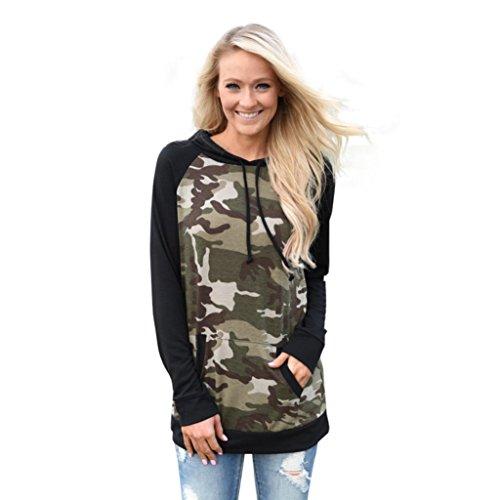 Longra Damen Langarm Kapuzenpullover Damen Camouflage Hoodies Kapuzenpulli Sweatshirt Pullover Tops Bluse Kapuzen Sweatshirt (L, Camouflage) Camouflage Cotton Sweatshirt