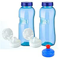 2x 0,75l Original Kavo Drink Botella de tritano 100% Sin plastificantes en bajo Set: 2x 0,75litros (redondo) + 2estándar Tapa + 2Sport Tapa (FlipTop) + 1–Tapa (Push Pull) Agua Botella de N Sport de N sin plastificantes sin plastificantes sin contaminantes libre de BPA libre BPS phtalath geruchsfrei y insípido de Austria botellas Deportes botellas de botellas de agua para Escuela Deporte Yoga Senderismo Viajes Oficina Uni Auto o de viaje.