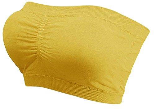 Kaiser-Handel.de Damen Bandeau Bra trägerlos Unterhemd TOP GoGo Sport BH Push Up Uni Größe bnu (gelb)