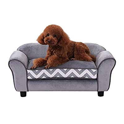 Pawhut Pet Sofa Couch Dog Cat Wooden Sponge Sofa Bed Lounge Comfortable Luxury w/Cushion 73.5L x 41W x 33H cm (Grey) by Sold By MHSTAR