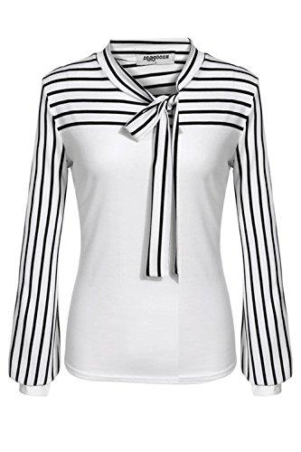 Freestyle Printemps Automne Femme Arc Cou Chemise Manche Longue Rayures Blouse Décontracté Bureau Haut Shirts Blanc