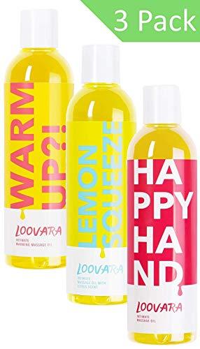 Loovara pacchetto offerta Massage in Bottles, olio per massaggi in un comodo set da tre - Oli nutrienti in offerta | Ingredienti nutrienti e naturali | Perfetti per preliminari, sesso e sex toys