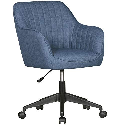 FineBuy Schreibtischstuhl Vara Blau Stoff Design Drehstuhl mit Lehne 120 kg   Retro Bürostuhl Drehsessel mit Rollen   Designer Schalenstuhl bequem   PC Stuhl Schreibtischsessel Büro   Bürosessel