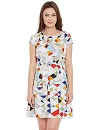 46a77225e89 Ruhaan s Women s Crepe Multi Color Triange Printed Knee Length Dress  (RU 5261)
