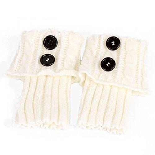 WODISON Bein Wärmer Kabel Knit Button Furry Stiefel Manschetten Socken für Damen (2 Paar) (Weiß) - Furry Damen Stiefel