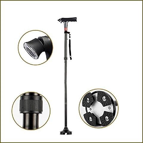 Modylee patas de aluminio plegable de múltiples funciones LED iluminado caña de caña de caña de alarma ancianos de edad avanzada